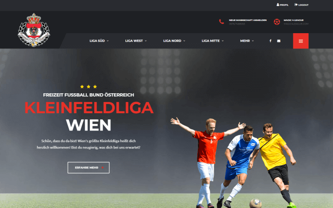 Kleinfeldliga Wien by Netshaper Webdesign